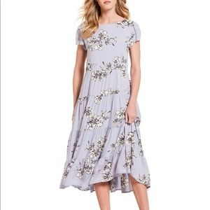 Free People Rita Tiered Midi Purple Floral Dress